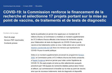 COVID-19: la Commission Européenne renforce le financement de la recherche