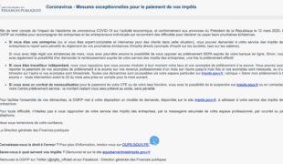 Coronavirus, mesures exceptionnelles pour le paiement des impôts