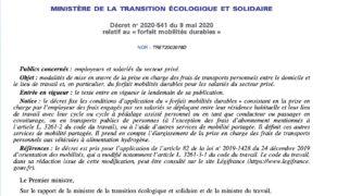 Forfait mobilités durables, les décrets secteurs privé et public sont parus!