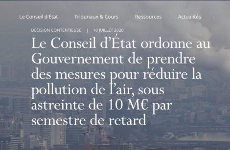 L'air de rien, le Conseil d'État sanctionne le Gouvernement sur la pollution…de l'air!