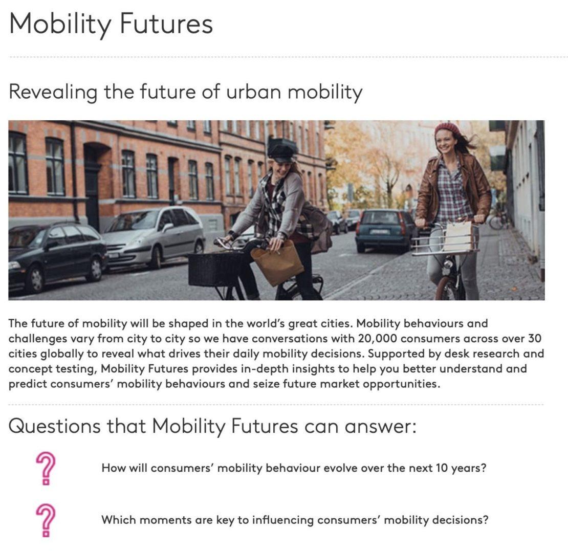 """""""Mobility Futures"""", étude sur le présent et l'avenir de la mobilité urbaine…"""