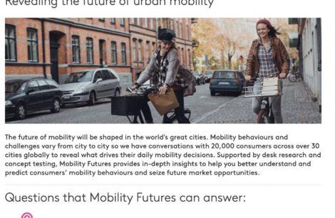 «Mobility Futures», étude sur le présent et l'avenir de la mobilité urbaine…