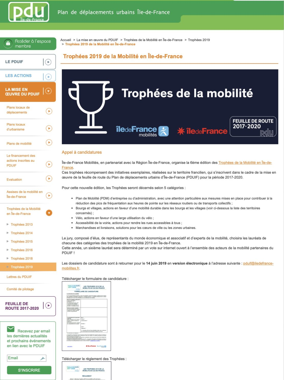 Trophées 2019 de la Mobilité en Île-de-France